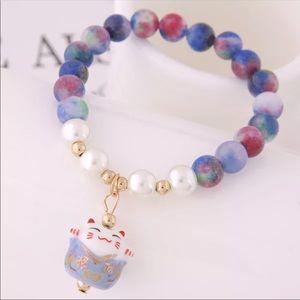 Cute Lucky Cat Bracelet with Ceramic Beads❤️